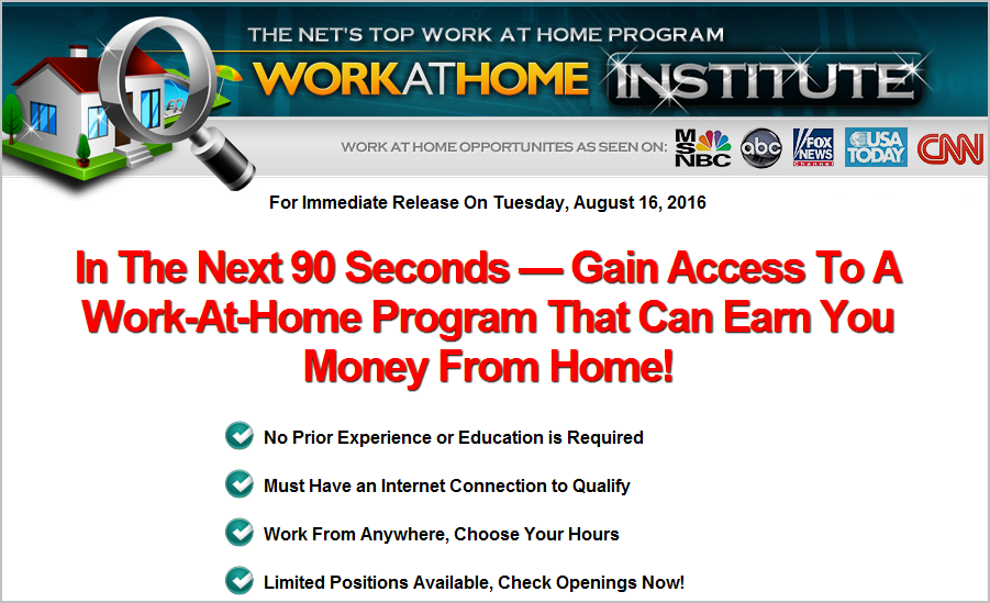 work at home institute website