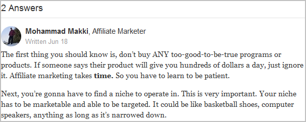 affiliate marketing answer on quora