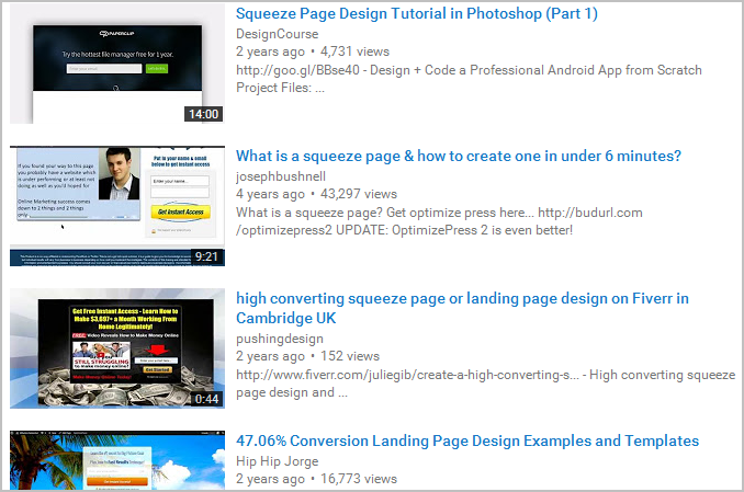 squeeze page creation youtube