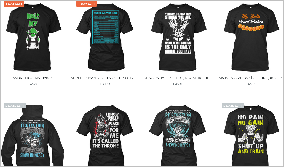 teespring dragon ball z