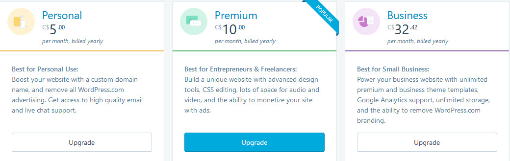pricing plans for wordpress.com hosting
